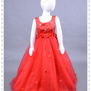 Stunning Scoop Beaded Handmade Flower Floor Length Princess Cute Cheap Red Satin and Tulle Flower Girl Dresses