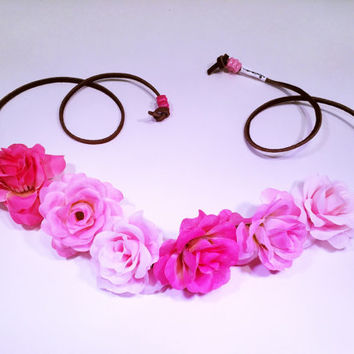 Pink Ombre Rose Flower Headband, Flower Crown, Flower Halo, Festival Wear, EDC, Coachella, Ultra Music Festival, Rave