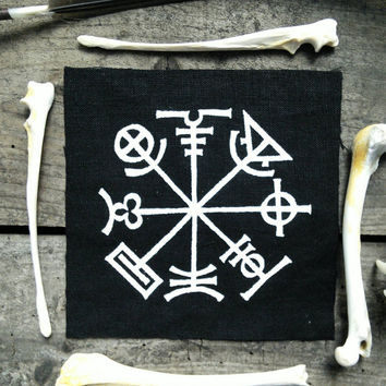Occult patch - Icelandic stave, prevents you from getting lost punk patch, goth patch, pagan patches, witch, voodoo, screen printed patch