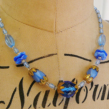 Vintage .. Czech Necklace Blue Sapphire Clear Glass Gold Tone Brass Flower Caps Spring