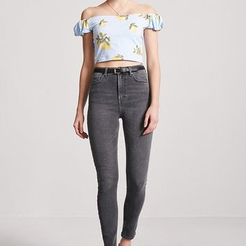 Lemon Print Off-the-Shoulder Top