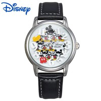 100% Original Disney children Mickey Mouse Cartoon Watch Best Fashion Casual Simple Digital Style Quartz Round Leather Watch
