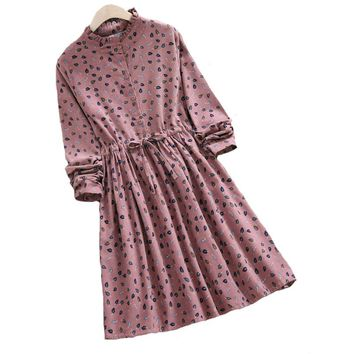 and Winter Vintage Dress New Women Long-Sleeved Floral Print Bushed Fabric Dresses Blue,Pink Vestidos M-XXL