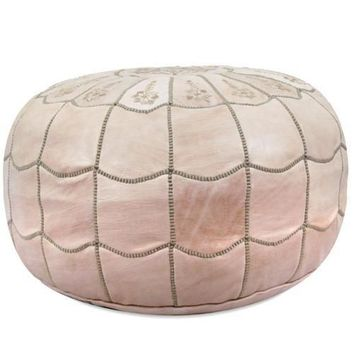 Natural Moroccan Leather Pouf with arch design Round Genuine Leather
