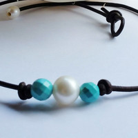 Freshwater Pearl, Genuine Turquoise and organic Leather bracelet