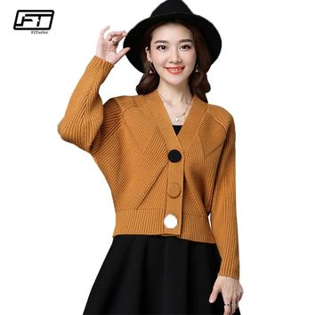 Fitaylor Women Knitted Sweater Cardigan Coat Spring Autumn Casual V-neck Long Sleeve Sweater Jacket Short Coat Female Tops