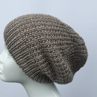 Hand knit slouchy hat, light brown hat. Unisex slouchy hat.