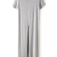 Grey Short Sleeve Split Front Dress