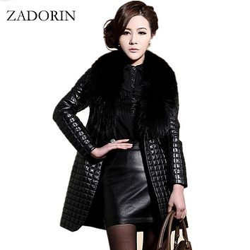 2016 Winter Fashion Faux Leather Jacket With Large Fur Collar Women Black faux sheepskin coat Long Leather Jacket veste en cuir
