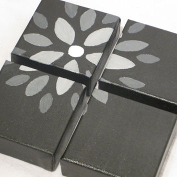 Monochromatic Black & White Floral Painting-Four 4X4 Canvases
