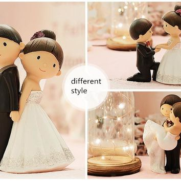 Mixed Style Cute Bride and Groom Wedding Cake Topper