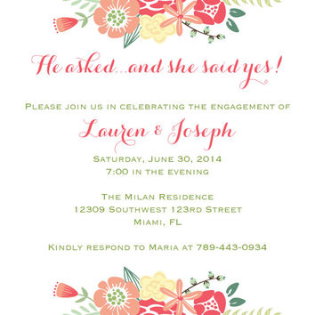 Bright Floral Engagement Party Invitation-Digital File