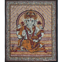 Maroon Hindu God Ganesha Cotton Batik Tapestry Wall Hanging Art