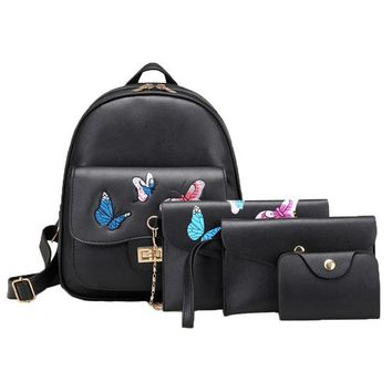 School Backpack trendy Aelicy High Quality 4pcs/Set Butterfly Embroidery Women Backpack PU Leather Teenager School Girls Bags Female Shoulder Bag Purse AT_54_4