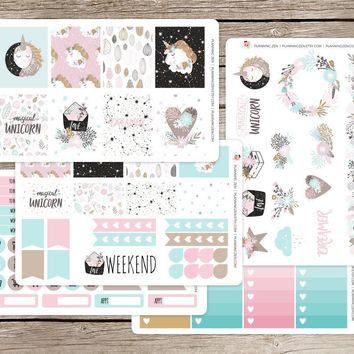 Boho Unicorn Vinyl Planner Stickers for use with EC Vertical Planners