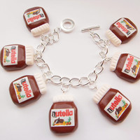 Fimo Kitsch Nutella Jar Charm Bracelet- Quirky Women's Jewellery Bracelet
