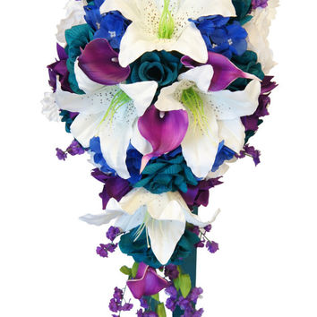 Cascade Bouquet- Teal, Purple, Royal blue, and White Artificial Arrangement