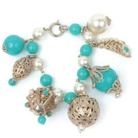 Turquoise Beads Faux Pearls Bracelet Asian Lanterns Etruscan Style Chunky Filigree Germany