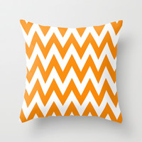 Team Spirit Chevron Orange and White Throw Pillow by Team Spirit