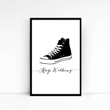 Typography Art Print KEEP WALKING, Sneakers Poster, Scandinavian Print, Instant Download Wall Art, Printable Art