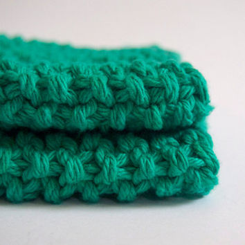 hand knit plushy cotton washcloth in mint green