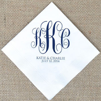 100 Custom Monogram Napkins with Names and Date