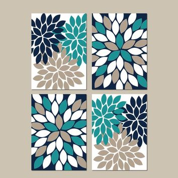 Teal Navy Beige Wall Art, CANVAS or Prints Bedroom Wall Decor, Bathroom Decor, Flower Burst Wall Art, Home Decor, Dahlia Petals Set of 4