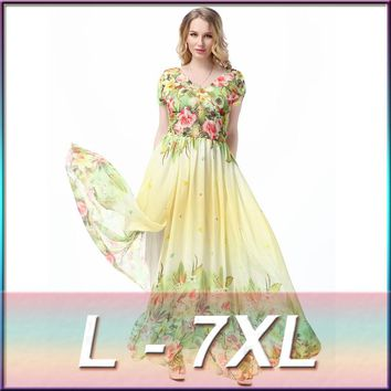 2018 new spring large plus size Holiday Beach Dress women's Chiffon printing 5XL 6XL 7XL Dress yellow loose style beach dress
