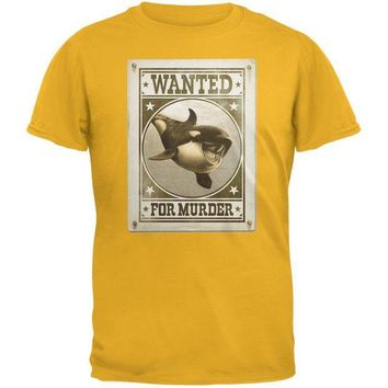 CREYCY8 Orca Killer Whale Wanted For Murder Gold Adult T-Shirt