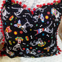 Fun Sugar Skull Pups Decorative Pillow
