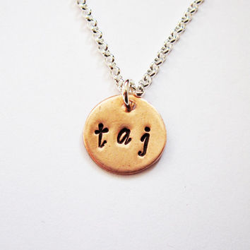 Three Initial Necklace - Two or Three Letters on One Disc - Tiny Cute silver Pendant - Three Letter Name Necklace, engraved