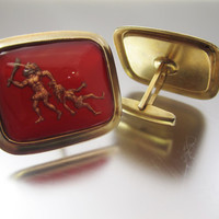Vintage Caveman Cufflinks Man Dragging Woman Cuff Links Mens Jewelry Gifts for Men Novelty Jewelry
