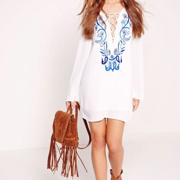Missguided - Lace Up Embroidered Shift Dress Blue