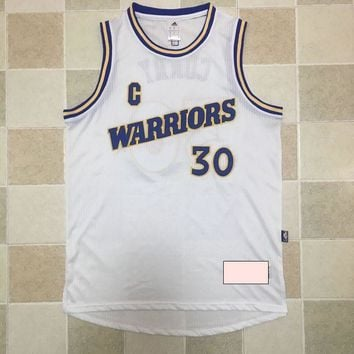 KUYOU Golden State Warriors Stephen Curry Retro White 100% Authentic Jersey