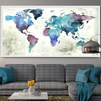 Push Pin World Map Poster Print World Map Wall Art World Map Print World Map Poster Wall Art Print Extra Large World Map Wall Decor - 95