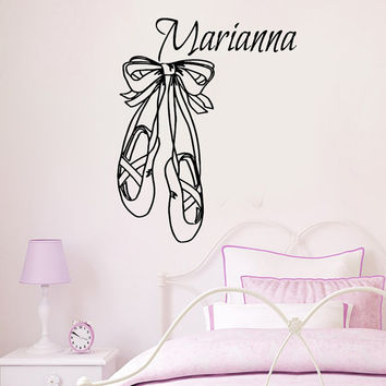 Wall Decals Vinyl Decal Sticker Personalized Name Girl Ballerina Ballet Dance Studio Art Interior Design Kids Nursery Baby Room Decor KT132
