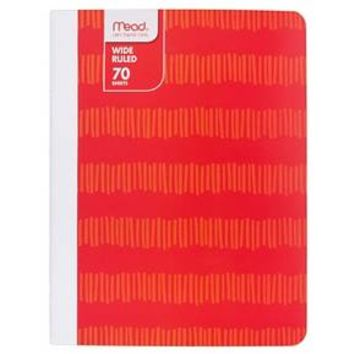"""Mead ® Composition Notebook, Wide Ruled, 70pgs, 7.5"""" x 9.75"""" - Pixelated Red : Target"""