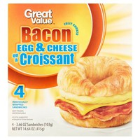Great Value Bacon Egg & Cheese on a Croissant Sandwiches, 3.66 oz, 4 count - Walmart.com