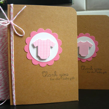 Baby Shower Thank You Cards Set of 6, Pink, New Baby Gift Cards