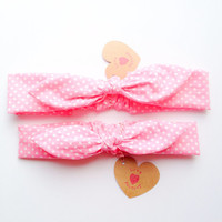 Happy Bunny bow headband knotted Mommy & Daughter pair set polka dot pink :) love collections by love factory nyc
