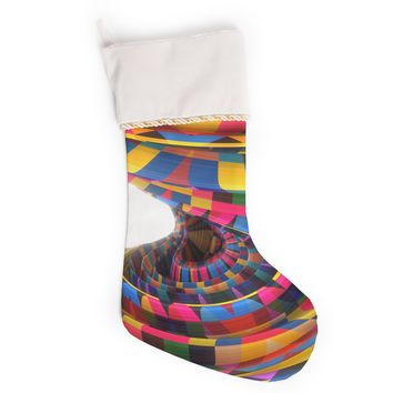 "Danny Ivan ""Twist Kids"" Multicolor Yellow Digital Christmas Stocking"