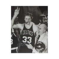 Autographed Larry Bird 16X20 Inch Photo Smoking Cigar