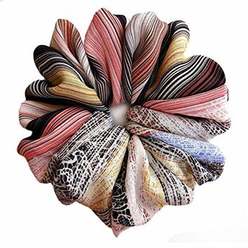 Beige Striped Large Hair Scrunchie Accessories Elastic Hair Ties Women's Ponytale Holders Wrap