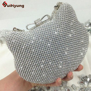 New Women's Shiny Rhinestones Hello Kitty Clutch Sided Full Diamond Evening Bag Wedding Party Handbag Purse Ladies Shoulder Bag