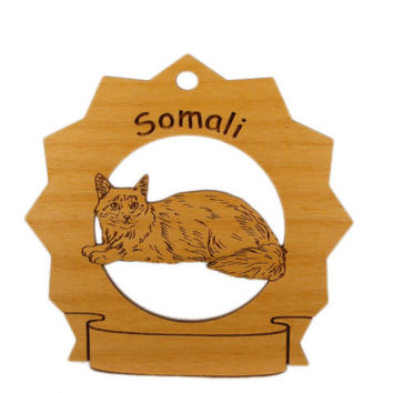 7419 Somali Cat Personalized Wood Ornament