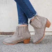Olympia Suede Studded Booties (Grey)