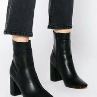 Truffle Collection | Truffle Collection Harp Square Toe Heeled Ankle Boots at ASOS