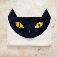 Handmade Leather navy and cream envelope style cat wallet with copper hardware