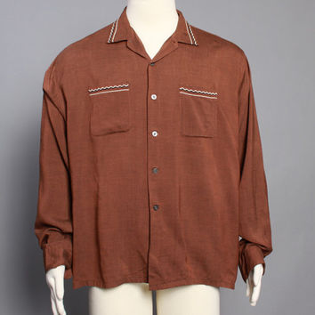 50s Embroidered MEN'S SHIRT / Mocha Brown Rockabilly Button Down, xl