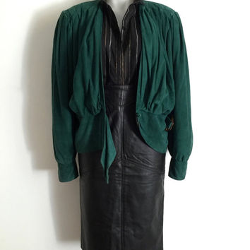 GEORGE GROSS!!! Vintage 1980s 'George Gross' emerald green suede jacket with gathered sleeves and draped buckled front